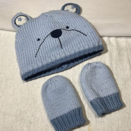 0-3 Months Blue Bear Hat and Mittens